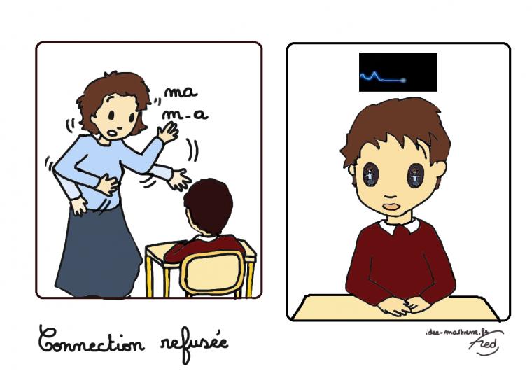 Quand un élève refuse la connexion demandée par sa maîtresse.