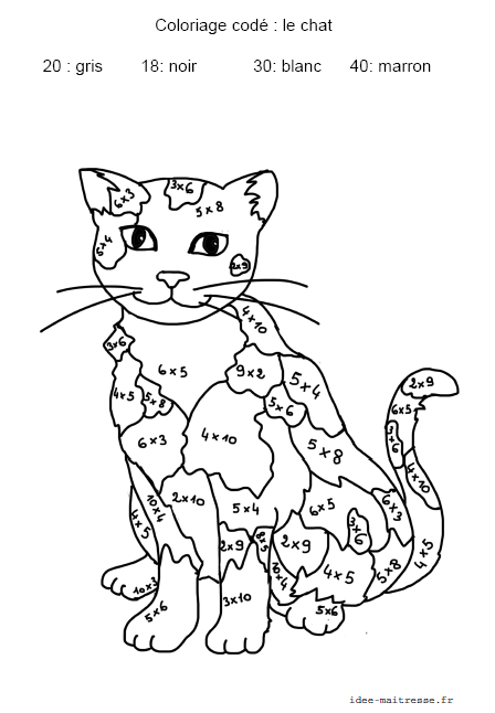 Chat coloriage code - Coloriage a code ...