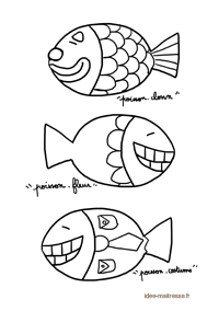 Coloriage de poissons d'avril rigolosos copie