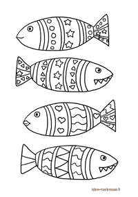 coloriage de poissons d'avril